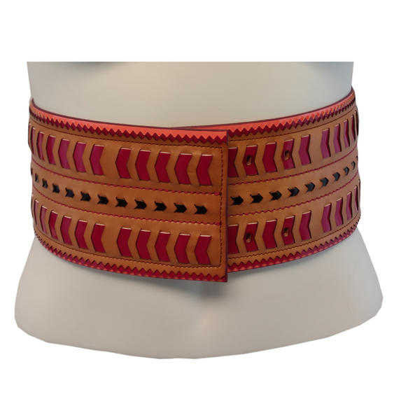 Nanette Lepore Wide Tribal Runway Belt Vachetta Tan Red Black Size Extra Small