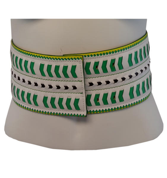 Nanette Lepore Wide Tribal Runway Belt Vachetta Green White Size Medium