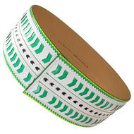 Nanette Lepore Wide Tribal Runway Belt Vachetta Green White Size Medium Thumbnail 3