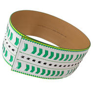 Nanette Lepore Wide Tribal Runway Belt Vachetta Green White Size Medium Thumbnail 2