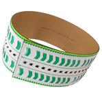 Nanette Lepore Wide Tribal Runway Belt Vachetta Green White Size Extra Small Thumbnail 2