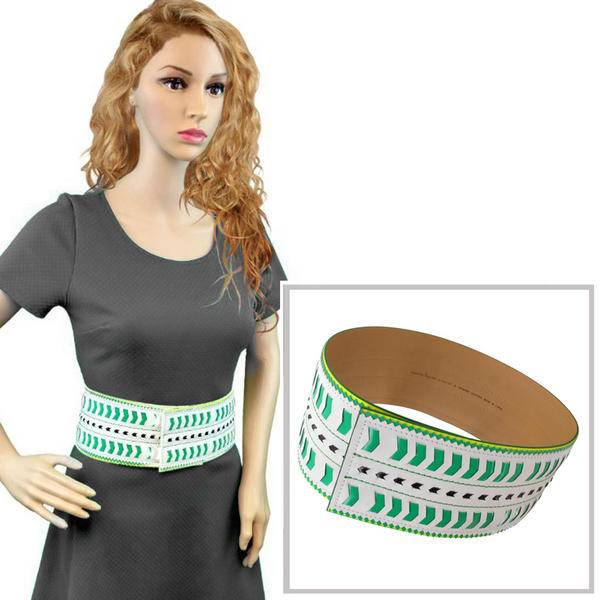 Nanette Lepore Wide Tribal Runway Belt Vachetta Green White Size XL