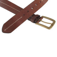 Via Spiga Brown Genuine Leather Mens Belt Contrast Stitched Size 36 Thumbnail 4