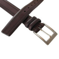 Via Spiga Brown Genuine Leather Mens Belt Embossed Stitched Size 32 Thumbnail 4