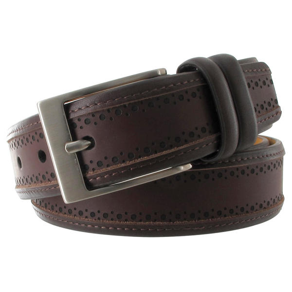 Via Spiga Brown Genuine Leather Mens Belt Embossed Stitched Size 42