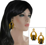 Large Chunky Doorknocker Pierced Earrings Yellow Black Enamel Gold Tone
