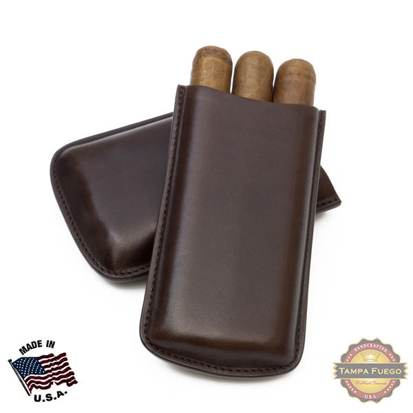 Tampa Fuego Cigar Case Genuine Leather Brown Unlined Big 3 Finger Father's Day