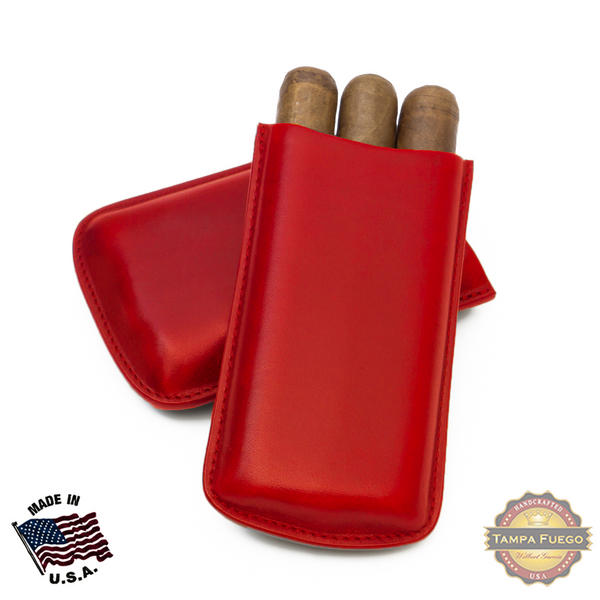 Tampa Fuego Cigar Case Genuine Leather Red Unlined Big 3 Finger Father's Day