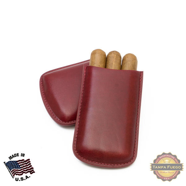 Tampa Fuego Cigar Case Genuine Leather Burgundy Unlined Robusto Father's Day