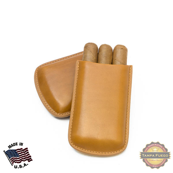 Tampa Fuego Cigar Case Genuine Leather Natural Unlined Robusto Father's Day