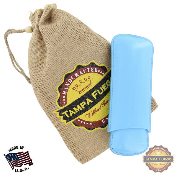 Tampa Fuego Cigar Case Genuine Leather Pale Blue Lined Two Finger Father's Day