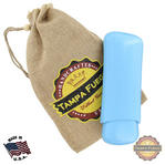 Tampa Fuego Cigar Case Genuine Leather Pale Blue Lined Two Finger Father's Day Thumbnail 1