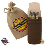 Tampa Fuego Cigar Case Brown Smooth Genuine Leather Alligator Tab Father's Day