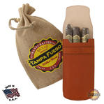 Tampa Fuego Cigar Case Cognac Smooth Genuine Leather Alligator Tab Father's Day Thumbnail 1