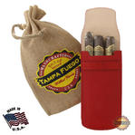 Tampa Fuego Cigar Case Red Smooth Genuine Leather Alligator Tab Father's Day Thumbnail 1