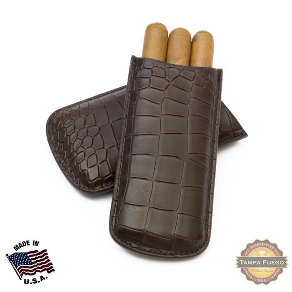 Tampa Fuego Cigar Case Deep Croco Grain Leather Brown Standard Father's Day