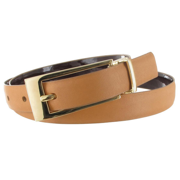 WCM Tan Nude Leather Reversible Brown Patent Ladies Belt Size XL 32-36""