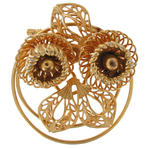 Retro Corocraft Gold Tone Wire Floral Pin Brooch