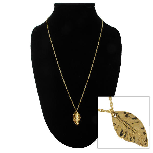 "KY & Co USA Made Gold Tone Leaf Pendant 24"" Rope Chain Necklace"