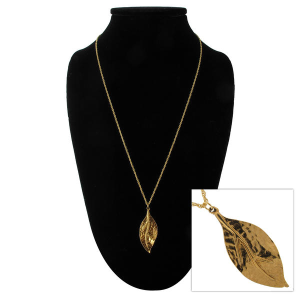 "Ky & Co Gold Tone Hammered Leaf Pendant  24"" Rope Chain Necklace"