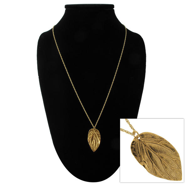 "Ky & Co Gold Tone Leaf Pendant  24"" Rope Chain Necklace"