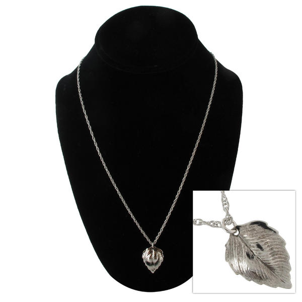 "KY & Co USA Made Silver Tone Leaf Pendant 20"" Rope Chain Necklace"