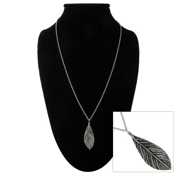 "KY & Co USA Made Silver Tone Leaf Pendant 24"" Rope Chain Necklace"
