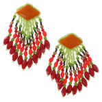 1980s Statement Beaded Shower Chandelier Red Green Coral Pierced Earrings 3""