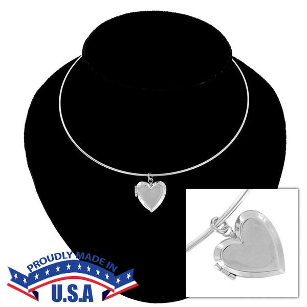 KY & Co USA Made Necklace Silver Tone Heart Locket Beveled Plain Simple