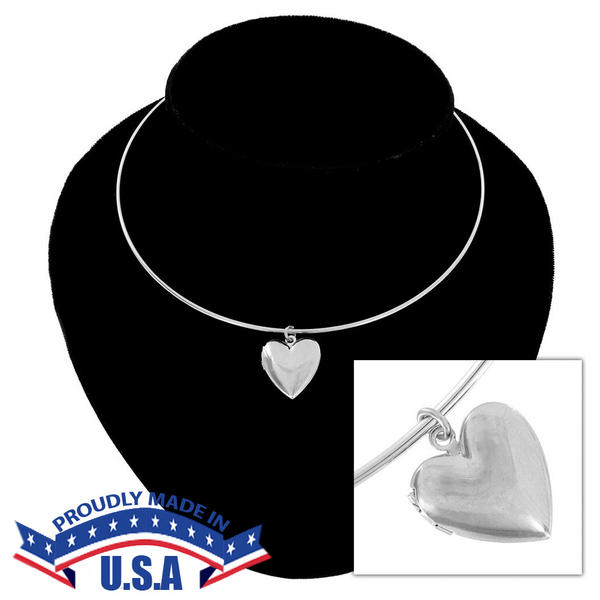 KY & Co USA Made Collar Necklace Silver Tone Heart Locket Beveled Plain Simple