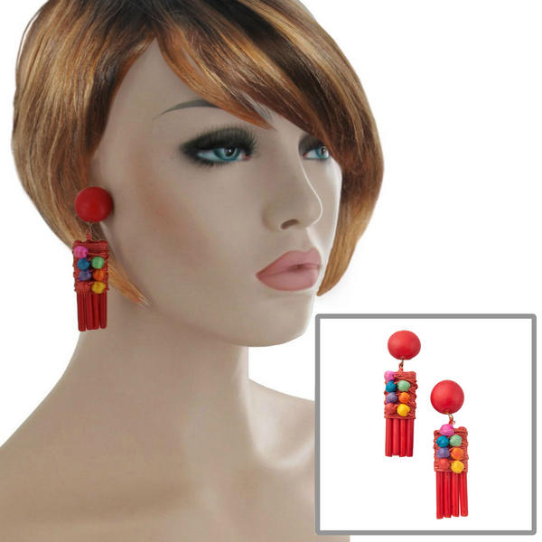 Red Multicolor Wood Beaded Threaded Abstract Design Clip On Earrings 3""