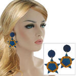 Vintage 1980s Blue Gold Thread Wrap Dangle Star Clip On Earrings 2 5/8""