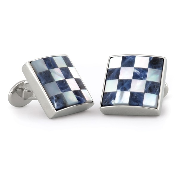 Sterling Silver Genuine Lapis Mother of Pearl Checkered Cufflinks Fixed Back USA SPO
