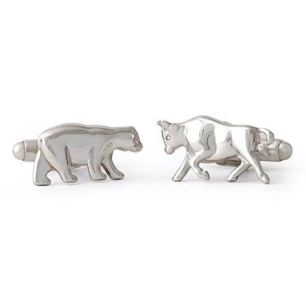 Sterling Silver Bull Bear Cufflinks Toggle Back USA Made SPO