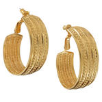 Large Loop Hoop Gold Tone Earrings Beaded Ribbed Fashion Jewelry
