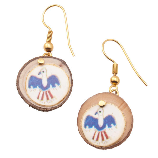 Vintage Wood Branch Bicentennial USA Eagle Earrings Gold Tone