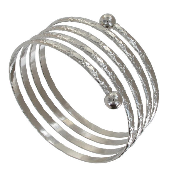 Ky & Co Children's Juniors Size Silver Tone Coil Spiral Bangle Bracelet Etched USA Made