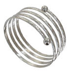 Ky & Co Children's Juniors Size Silver Tone Coil Spiral Bangle Bracelet Etched USA Made Thumbnail 1