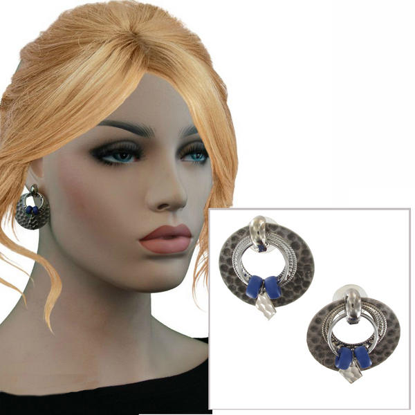 Antiqued Silver Tone Blue Boho Door Knocker Earrings - Hammered Hoop