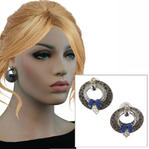 Antiqued Silver Tone Blue Boho Door Knocker Earrings - Hammered Hoop Thumbnail 1