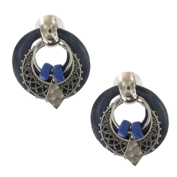 Antiqued Silver Tone Boho Door Knocker Earrings - Blue Enamel Filigree Hoop