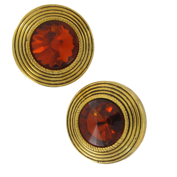 Vintage 1980s Topaz Color Rivoli Acrylic Rhinestone Button Earrings
