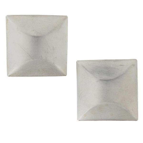 Matte Finish Silver Tone Square Statement Pierced Earrings Large