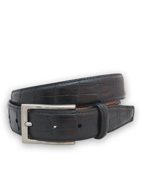 "Bryant Park Genuine Alligator Semi-Shiny With Snap Men's Belt 1 ¼""  Sz 40 Black SPO"
