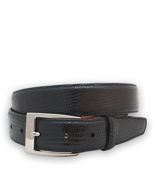 "Bryant Park Genuine Lizard With Snap Men's Belt 1 1/4"" Black Sz 32 SPO"
