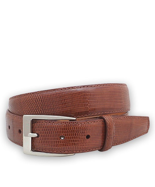 "Bryant Park Genuine Lizard With Snap Men's Belt 1 1/4"" Cognac Sz 42 SPO"
