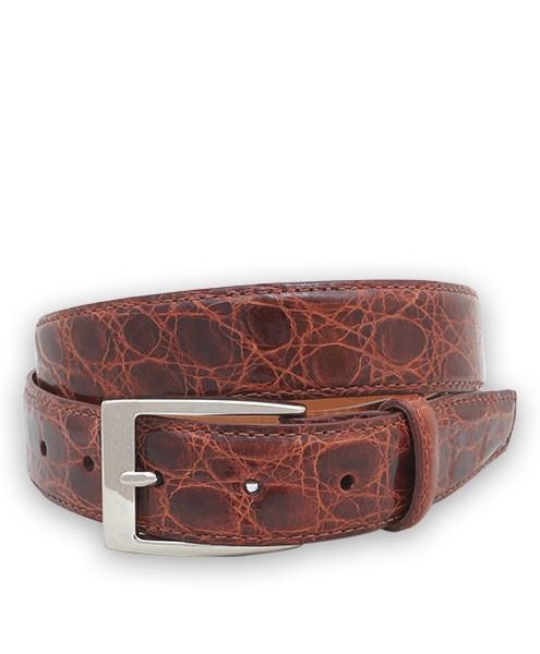 "Bryant Park Genuine Shiny Crocodile With Snap Men's Belt 1 1/4"" Cognac Sz 42 SPO"