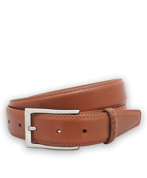 "Bryant Park Monte Carlo Leather Alligator Loop Men Belt 1 1/4"" Cognac Sz 32 SPO"