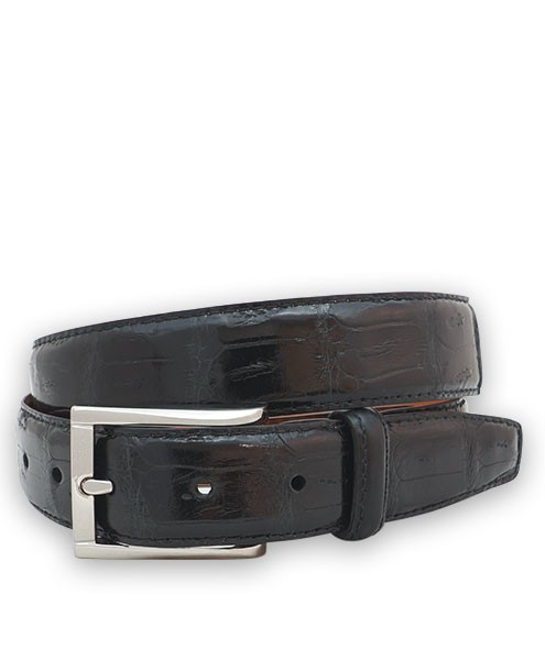 "Bryant Park Genuine Shiny Crocodile Tail With Snap Men's Belt 1 1/4"" Black Sz 36 SPO"
