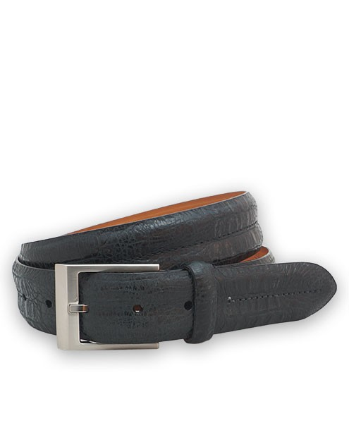 "Bryant Park Bambino Vintage Croc Leather Double Barrel Men's Belt 1 3/8"" Black 38 SPO"
